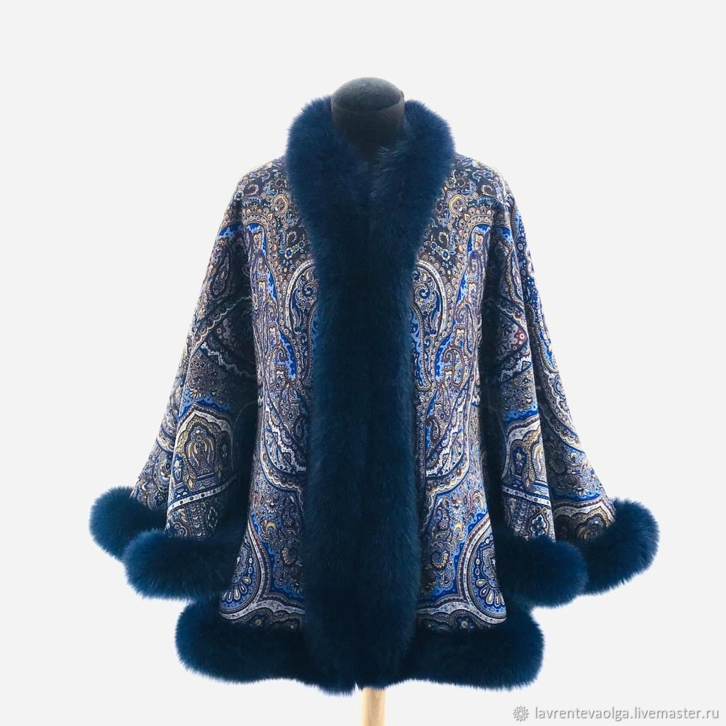 Jacket: from shawls 'semi-precious Casket' with blue Fox fur, Outerwear Jackets, Moscow,  Фото №1