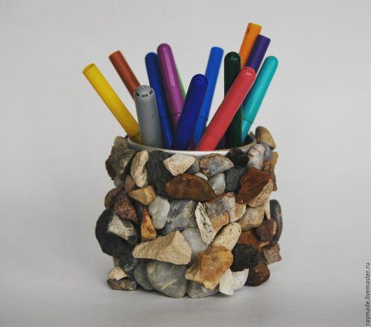 Элементы интерьера ручной работы. Ярмарка Мастеров - ручная работа. Купить Карандашница ручной работы. Handmade. Карандашница, камень