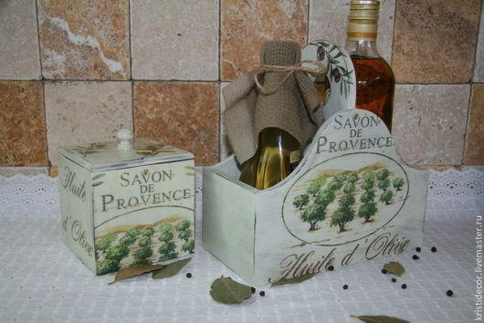 """Корзины, коробы ручной работы. Ярмарка Мастеров - ручная работа. Купить Двойной короб для бутылок с маслом """"Savon de Provence"""". Handmade."""