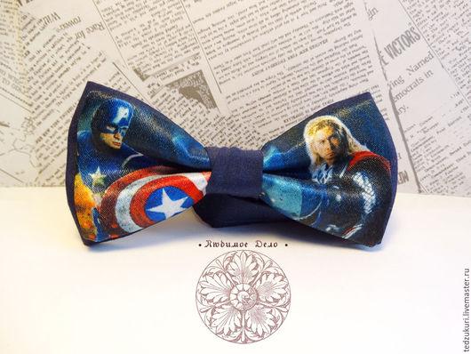 Галстуки, бабочки ручной работы. Ярмарка Мастеров - ручная работа. Купить Галстук - бабочка Тор и Капитан Америка/ супергерои/ мстители/ Marvel. Handmade.