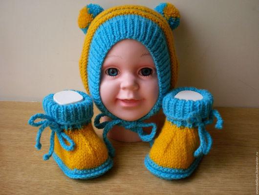 """Для новорожденных, ручной работы. Ярмарка Мастеров - ручная работа. Купить Детский вязаный набор """"Желтый-голубой"""". Handmade. Комбинированный"""