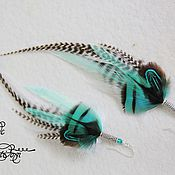 Украшения handmade. Livemaster - original item Mint delicate earrings with feathers.. Handmade.