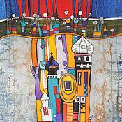 """Картины и панно ручной работы. Ярмарка Мастеров - ручная работа Батик панно """"Чудо-башня"""".. Handmade."""