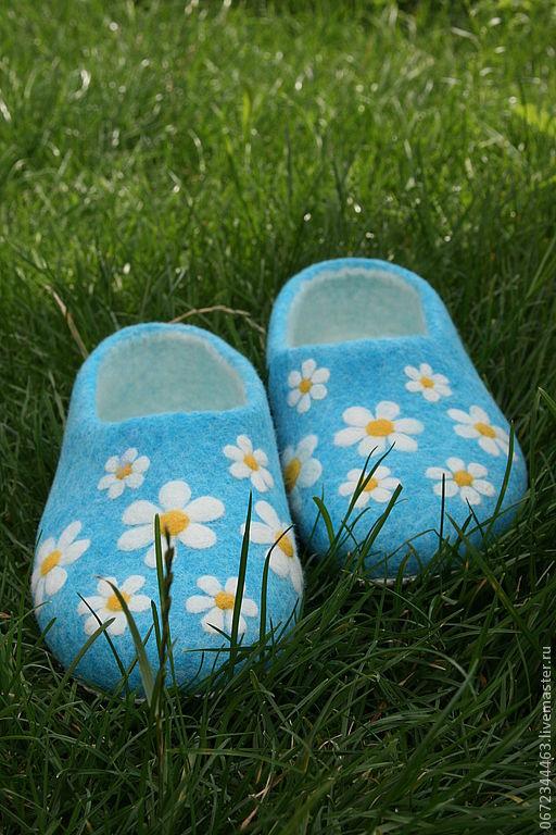 """Обувь ручной работы. Ярмарка Мастеров - ручная работа. Купить Тапочки """"РомашкА"""". Handmade. Бирюзовый, тапки, обувь для детей"""