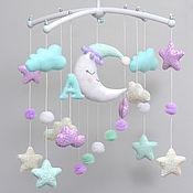 Работы для детей, handmade. Livemaster - original item Children`s mobile on the bed Moon Stars Clouds. Handmade.