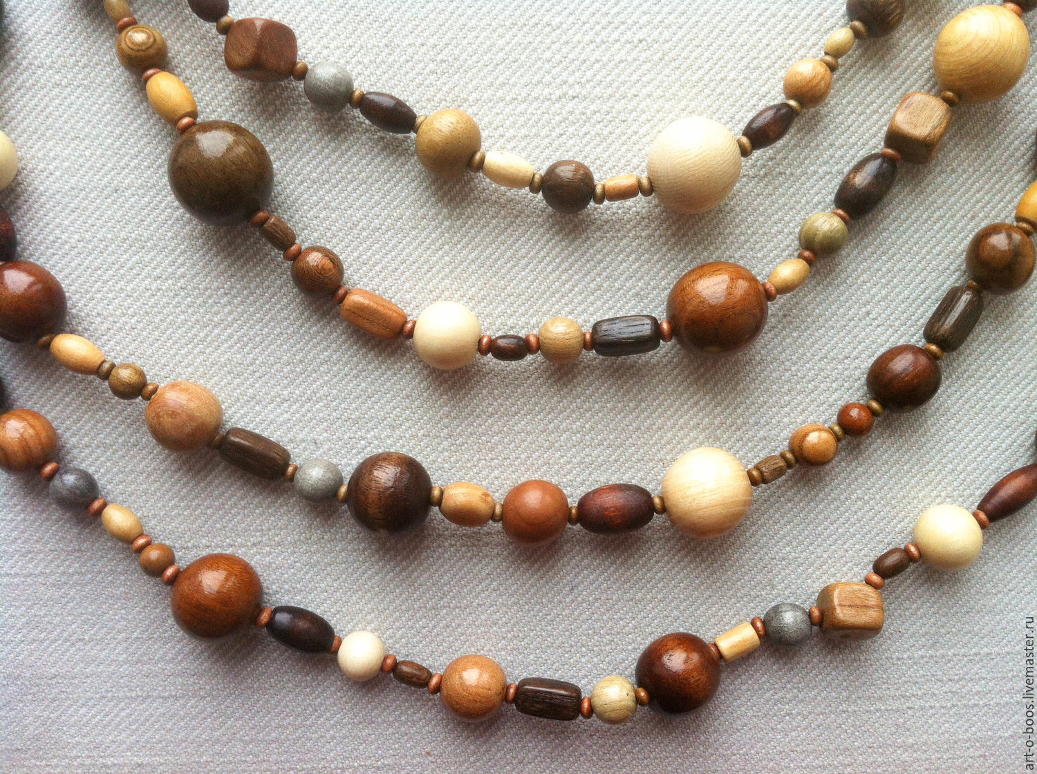 Wooden multistrand necklace, Necklace, Moscow,  Фото №1