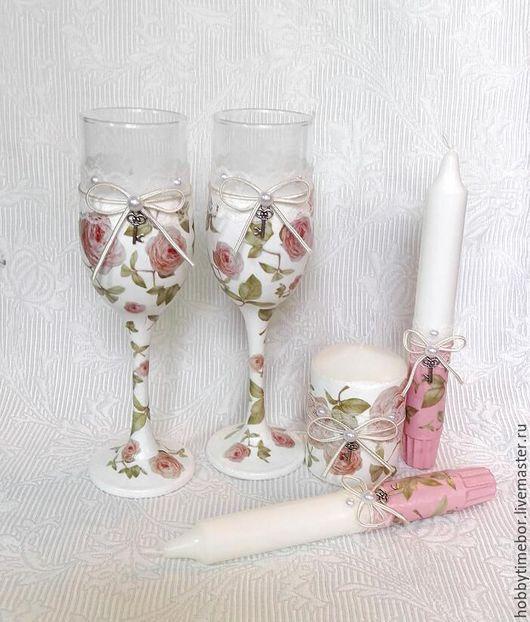 Бокалы, стаканы ручной работы. Ярмарка Мастеров - ручная работа. Купить Свадебный набор. Handmade. Розовый, шебби-шик, Декупаж