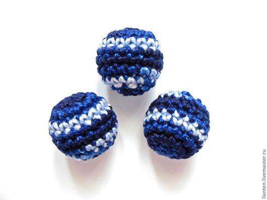 Для украшений ручной работы. Ярмарка Мастеров - ручная работа. Купить Набор из 10 бусин, цв. темно синий - голубой. Handmade.