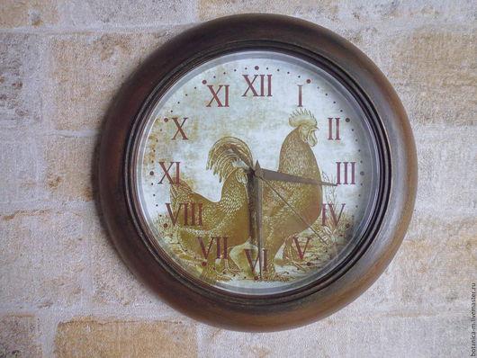 """Часы для дома ручной работы. Ярмарка Мастеров - ручная работа. Купить """"Петух и курица"""" Часы настенные, винтаж, кантри, коричневый. Handmade."""