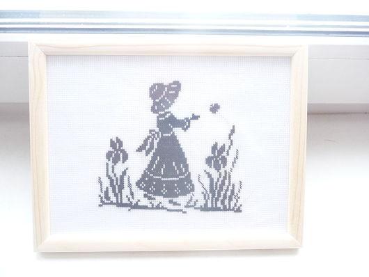 """Люди, ручной работы. Ярмарка Мастеров - ручная работа. Купить Вышивка """"Девочка с бабочкой"""". Handmade. Вышитая картина, Вышивка крестом"""