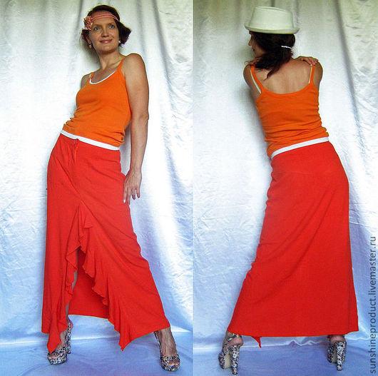 """Юбки ручной работы. Ярмарка Мастеров - ручная работа. Купить Юбка """"Мандаринка"""". Handmade. Рыжий, сексуальная юбка, юбка макси"""