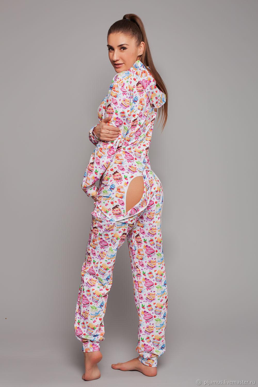 Пижама-комбинезон с карманом на попе Пироженки из хлопка, Пижамы, Санкт-Петербург,  Фото №1