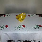 Для дома и интерьера ручной работы. Ярмарка Мастеров - ручная работа Скатерть из белоснежного хлопка с вышитыми розами. Handmade.
