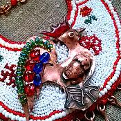 """Necklace handmade. Livemaster - original item Колье """"Петушок - красный гребешок!, медь, бисер, кожа. Handmade."""
