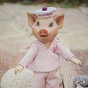 Куклы и игрушки ручной работы. Ярмарка Мастеров - ручная работа Деревянная кукла.Поросенок морячок.. Handmade.