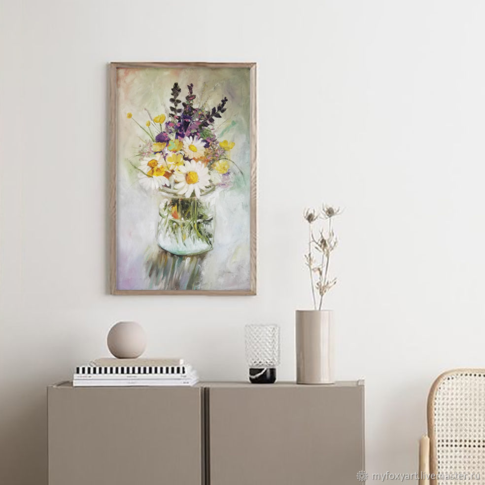 Wildflowers, oil painting on canvas, flowers in a glass vase, Pictures, St. Petersburg,  Фото №1