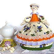 Посуда handmade. Livemaster - original item Doll-hot water bottle for a teapot young Lady. Gift, yellow, for interior. Handmade.