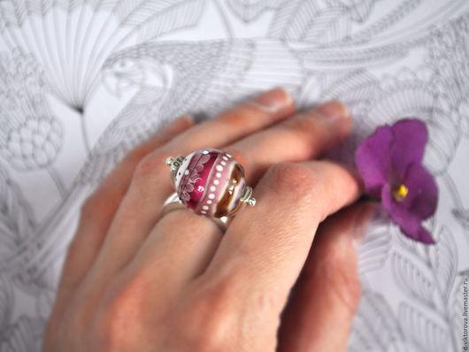 """Кольца ручной работы. Ярмарка Мастеров - ручная работа. Купить Кольцо из серебра и муранского стекла """"Фруктовый чай"""". Handmade. Розовый"""