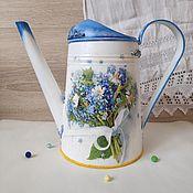 "Цветы и флористика handmade. Livemaster - original item Лейка ""Незабудки и ромашки"". Handmade."