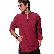 """Одежда ручной работы. Ярмарка Мастеров - ручная работа Тибетская Рубашка """"Гранат"""" на пуговицах из тесьмы. Handmade."""