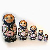 Русский стиль handmade. Livemaster - original item Matryoshka 5 local Floral (Indigo). Handmade.