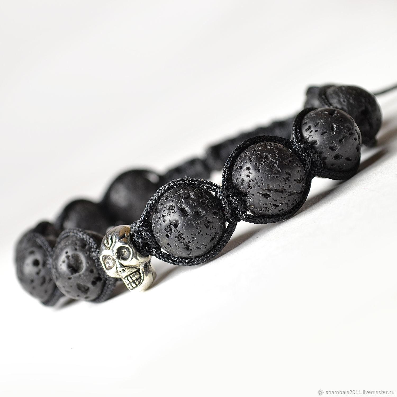 Shamballa bracelet with volcanic lava stone, skull c, Bead bracelet, Moscow,  Фото №1