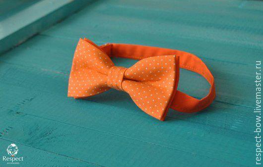 Галстуки, бабочки ручной работы. Ярмарка Мастеров - ручная работа. Купить Галстук бабочка Вита / оранжевая в белый горошек. Handmade.