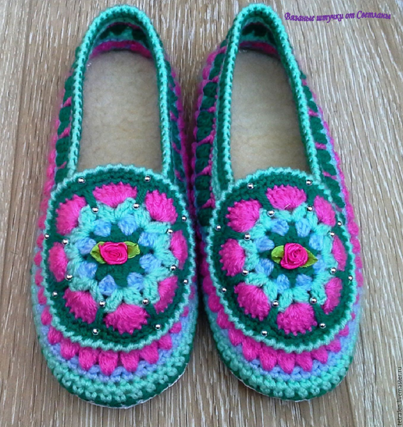Slippers Knitted Spring Leather Sole Shop Online On Livemaster