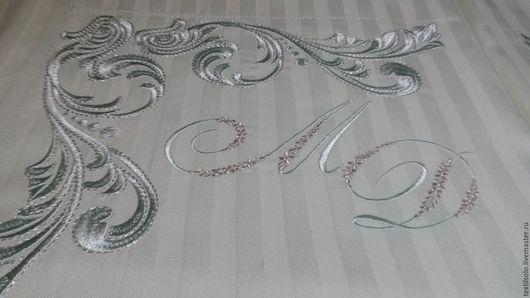 Текстиль, ковры ручной работы. Ярмарка Мастеров - ручная работа. Купить Комплект постельного белья с вышивкой. Handmade. Мятный, шёлк