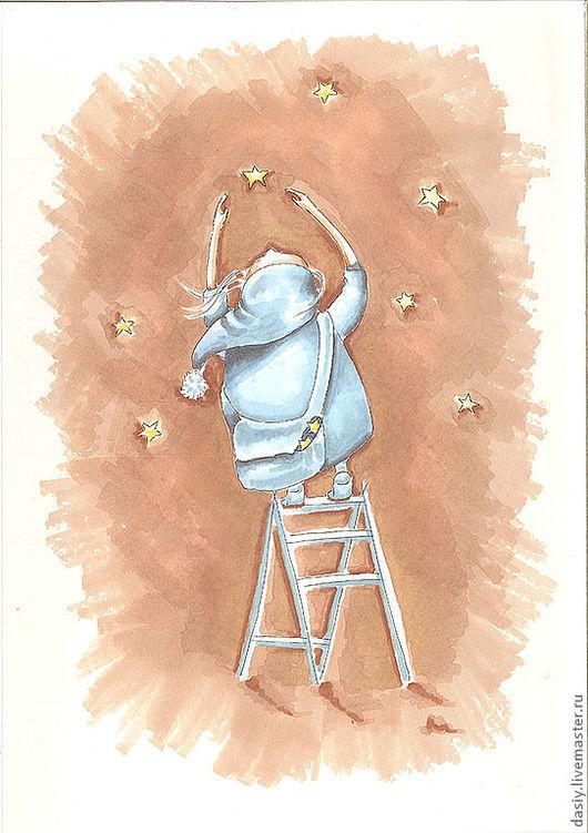 """Фэнтези ручной работы. Ярмарка Мастеров - ручная работа. Купить Картина """"Пряничное небо"""". Handmade. Бежевый, звезды, небо, пряники"""