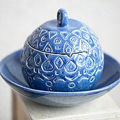 Посуда handmade. Livemaster - original item Box Jar for small things Blue. Handmade.