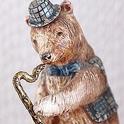Куклы и игрушки ручной работы. Ярмарка Мастеров - ручная работа Миниатюра Медведь с трубой. Handmade.