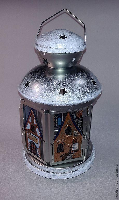 """Подсвечники ручной работы. Ярмарка Мастеров - ручная работа. Купить Фонарь-подсвечник """"Волшебные домики"""". Handmade. Белый, свет"""