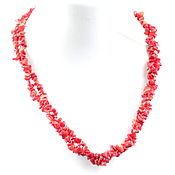 Украшения handmade. Livemaster - original item Double row red necklace made of natural coral crumbs. Handmade.