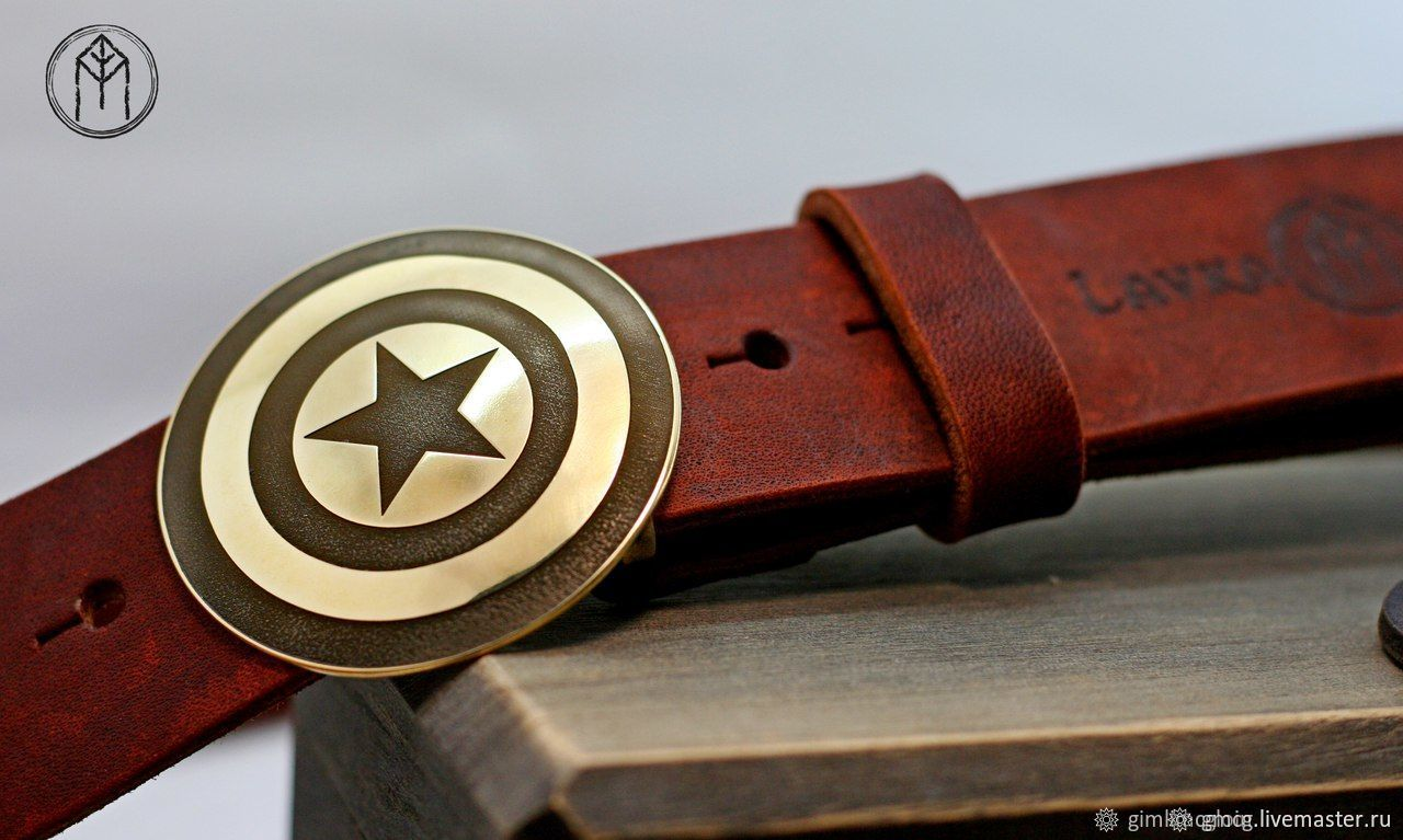 Leather belt with brass buckle 'Captain America', Straps, Tolyatti,  Фото №1