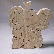 """Пазлы, головоломки ручной работы. Ярмарка Мастеров - ручная работа Пазлы, головоломки: Игрушка - пазл """"Веселый слоненок"""". Handmade."""