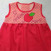 Работы для детей, ручной работы. Ярмарка Мастеров - ручная работа Платье Я люблю яблочко и маму. Handmade.