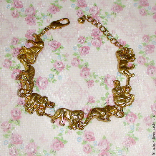"""Винтажные украшения. Ярмарка Мастеров - ручная работа. Купить Браслет """"Животный мир саванны"""" под золото (США). Handmade. Брошь"""