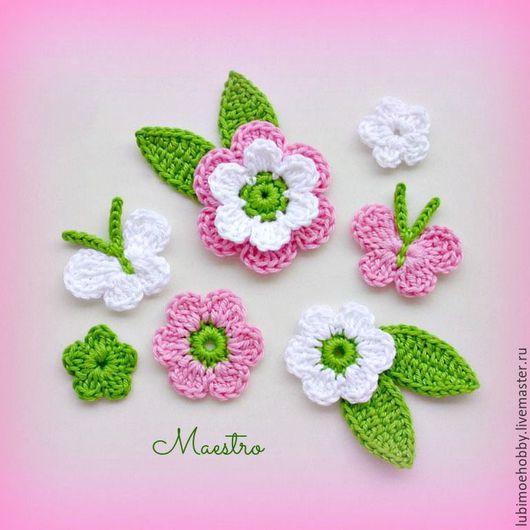 Цветы ручной работы. Ярмарка Мастеров - ручная работа. Купить Цветы и аппликации вязаные крючком. Handmade. Для декора, цветы