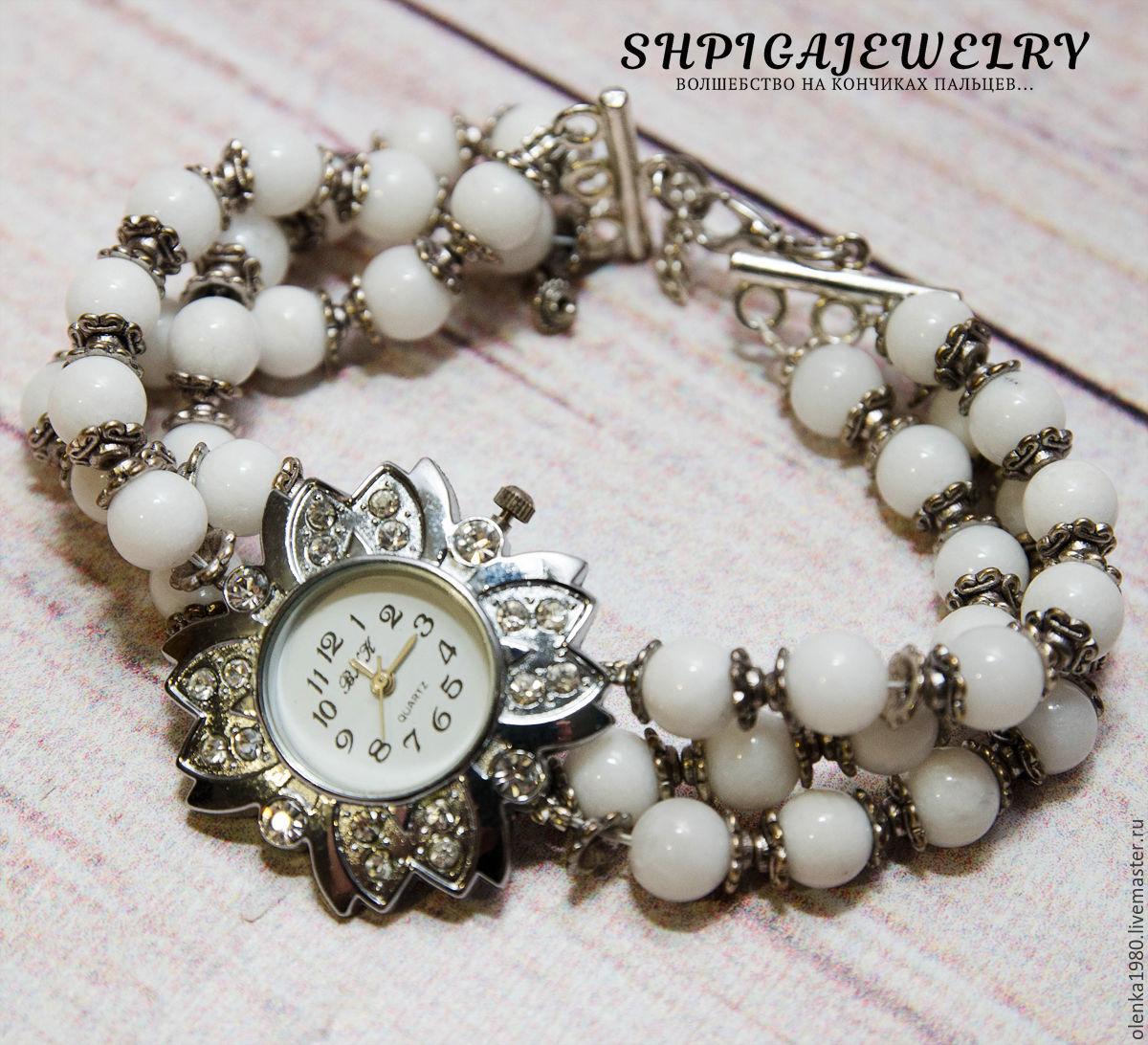 Watches `Lily`, white, women's three-row bracelet of jadeite