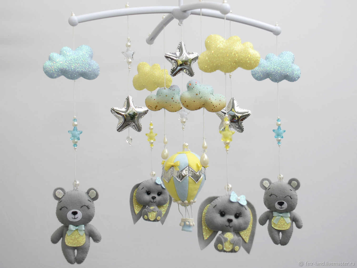 Mobiles on the crib: Grey-yellow ' Bears and bunnies', Toys for cribs, Belgorod,  Фото №1