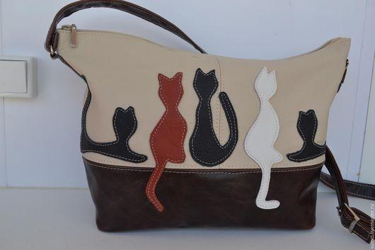 Женские сумки ручной работы. Ярмарка Мастеров - ручная работа. Купить сумка женская из натуральной кожи Мартовские коты. Handmade.