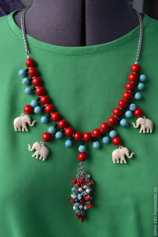 """Колье, бусы ручной работы. Ярмарка Мастеров - ручная работа. Купить Ожерелье """"Этно-Слоники"""". Handmade. Этно, ожерелье с подвеской"""