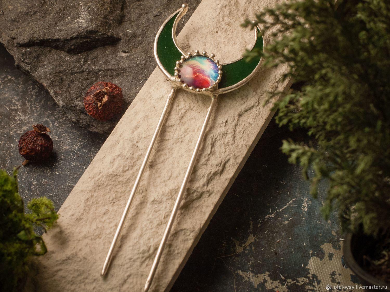 Зеленый гребень с серебрением, Заколки, Санкт-Петербург, Фото №1