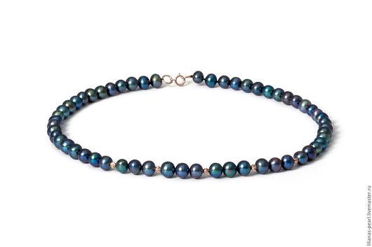 Колье, бусы ручной работы. Ярмарка Мастеров - ручная работа. Купить Ожерелье из черного овального жемчуга 7-7,5мм с золотом 585. Handmade.