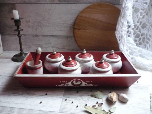 Кухня ручной работы. Ярмарка Мастеров - ручная работа. Купить Набор для специй ,,Очаровательный кантри,,. Handmade. Ярко-красный, деревянный