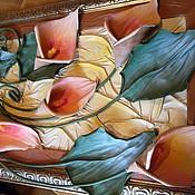Картины и панно ручной работы. Ярмарка Мастеров - ручная работа цветы из кожи, картина из кожи КАЛЛЫ. Handmade.