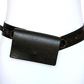 Сумки и аксессуары handmade. Livemaster - original item Black leather waist belt. Handmade.