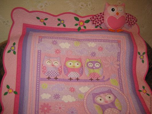 Пледы и одеяла ручной работы. Ярмарка Мастеров - ручная работа. Купить Лоскутное одеяло покрывало для девочки. Handmade. Розовый, совы