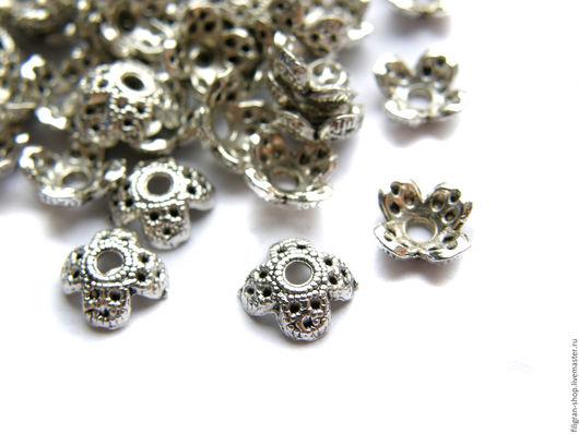 Для украшений ручной работы. Ярмарка Мастеров - ручная работа. Купить Шапочки для бусин 7 мм (пара), античное серебро. Handmade.